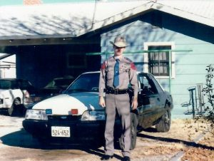"1987 Ford Mustang patrol car , nicknamed ""Iron Pony II"", driven by Ben H. English, Trooper for the Texas DPS."